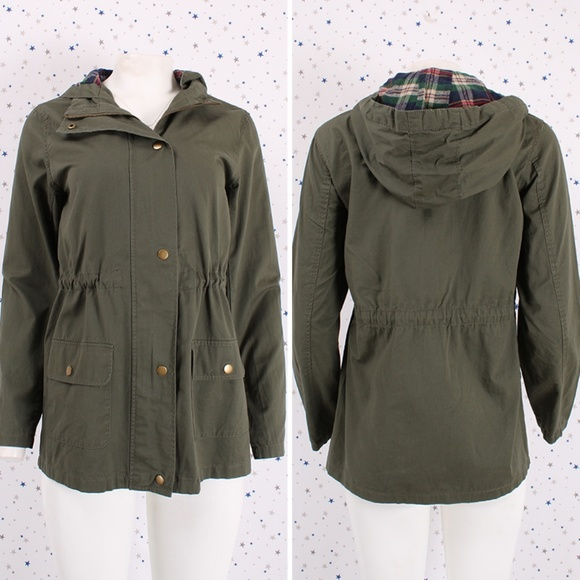 WOMENS MILITARY COTTON JACKET UTILITY SAFARI OLIVE GREEN BUTTON UP COAT OUTWEAR